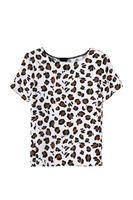 2014 women chiffon street fashion leopard o-neck short sleeve blouse top 202305