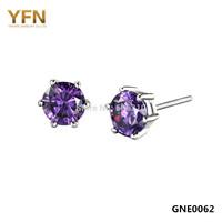 GNE0062-Z Genuine 925 Sterling Silver Jewelry Arrows Earrings Fashion Jewelry Purple CZ Stud Earrings For Women Free Shipping