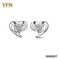 GNE0037 Forever Love 925 Silver Earrings Christmas Gifts 925 Sterling Silver Women Jewelry CZ Heart Stud Earrings Free Shipping