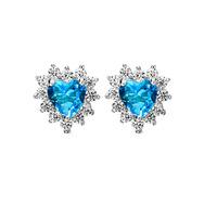 GNE0492 New 2014 Promotion Free P&P Titanic Ocean Heart Earrings 8.4*8.4mm Fashion 925 Sterling Silver Stud Earrings for Women