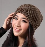 Fashion simple warm pure color knit cap hat lady hat