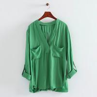2014 women leisure streetwear cotton crossing back pockets v-neck foldable long sleeve loose blouse 202805