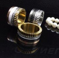Titanium steel inlaid ceramic gear  artificial diamond ring free shipping