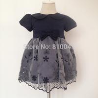 Newborn Lace Dess  Baby Girls Wedding Gowns Dark Blue Elegant Infant Dresses With Bow