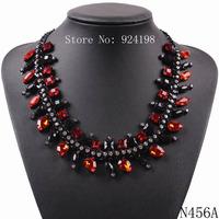 fashion 2014 new design black chain rhinestone crystal necklace for girls cheap elegant bib choker collar jewelry for women