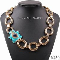 fashion 2014 new design model cute blue enamel frog rhinestone gold chain necklace for women party choker jewelry