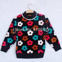 Free Shipping 2014 hot sale fashion Flower FULL cotton kids baby girls children sweatshirts sweaters winter clothing for girls