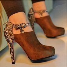 ( eur tamaño 35- 48) nuevo 2014 primavera/serpentina otoño sexy botines alta- de gamuza de taco de la mujer zapatos solteros mujeres bombas(China (Mainland))