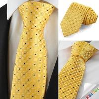 New Graphic Golden Yellow men ties designers fashion slim Suit Necktie Wedding Party Holiday Gift KT1035