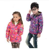 Winter Kids Coat For Girls New Pink Star Print Children's Duck Down Winter Jacket Hooded Parkas Fashion Purple Boys Warm Coat