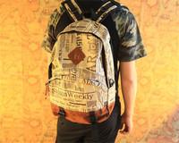 New Design Newspaper Print Canvas Bag Girls& Boys Backpack School Bag men 's backpacks