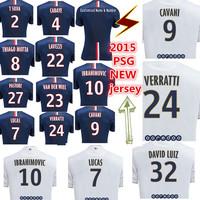 14 15 new IBRAHIMOVIC VERRATTI CAVANI CABAYE PASTORE lucas soccer jersey football shirts custom name free shipping