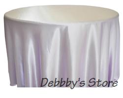 Wedding white satin tablecloth 108'' ROUND(China (Mainland))