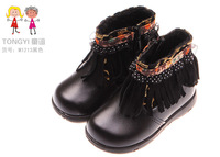 Hot-sell New Autumn winter brand baby shoes baby Genuine Leather Tassel & Lace snow boots baby prewalker first walkers  M1213