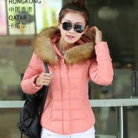 2014 new  winter clothes jacket fur collar Slim short paragraph coat large size women