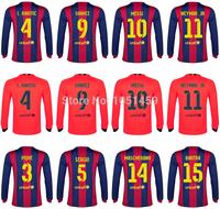 Thai quality 2015 Soccer jersey MESSI NEYMAR JR A.INIESTA XAVI SUAREZ I.RAKITIC PIQUE Mascherano 14 15 Football Jerseys&shorts