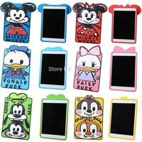 3D Cartoon Cute Graffiti Mickey Minnie Mouse Donald Daisy Chip Goofy Silicone Rubber Case Cover For iPad mini mini 2 Retina Skin