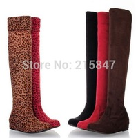 Dropship Women's Boots Ladies Fashion Flat Heel Boots Shoes Over The Knee Boots Suede Thigh Boots