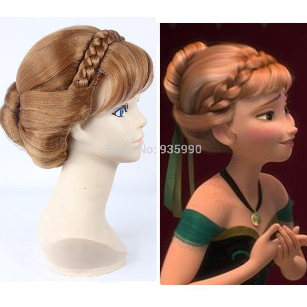 Halloween Adults for Kids Princess Frozen Snow Queen Brown Anna Wig