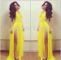 Elegant High Split Sexy Deep V-neck long casual Dresses Yellow Evening Party Fashion Maxi Chiffon Club Bohemian Pleated Dress