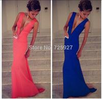 Hot 2014 New fashion Women sexy Deep V neck bandage dresses lady evening party Mermaid Long dress club wear Bodycon vestidos
