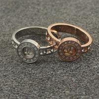Titanium steel Asian word refers couple rings hollow rhinestone free shipping