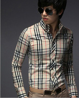 2014 New brand men shirt Fashion Casual Grid long-sleeved mens shirts, men's Casual Shirts size:M-L-XL-XXL