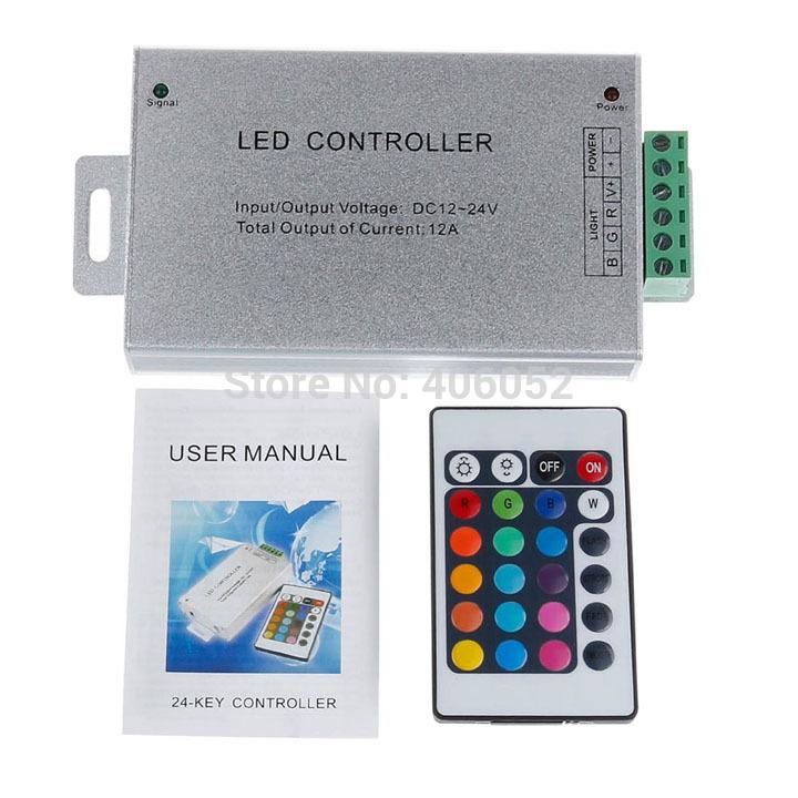 100pcs/lot Aluminum shell 24 key ir led rgb controller 12v - 24v for 5050/3528 led strip light and RGB LED module(China (Mainland))
