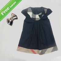 2015 Baby girls dresses brand  Designer princess dress children's plaid bow clothing fashion kids clothes hot sale