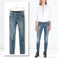 Hot Sale Winter Women Worn Thin Slim Washed Denim Jeans Female Distrressed Ripped Skinny Jeans Pants Trousers Legging