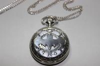Movie jewelry Titanium steel Batman Pocket Watch Necklace men jewelry steampunk antique jewelry batman necklace