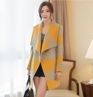 Women Brief Quality Woolen Coat 2014 New Autumn Winter Turn down Collar Plaid Long Slim Coat Yellow