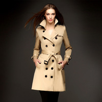 twods 2014 new fashion female british style long trench coat for women double-breasted belted very good quality free shipping