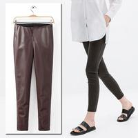 New Vintage Trendy Winter Slim Women Elasticized Waist PU Faux Leather Tights Skinny Pants Trousers Legging