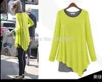 Autumn outfit irregular false two piece set loose and long sleeve T-shirt girl fresh long