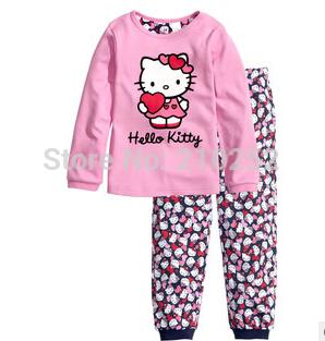 freeshipping Children's Baby pajamas pink suit sets kittty girls Pyjamas suits Kids shirts+ trousers 100% cotton Pajama Sets(China (Mainland))
