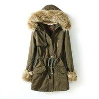2014 winter wadded jacket female thickening olive large fur collar medium-long berber fleece jacket ourterwear