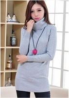 Women Autumn Winter Fashion Candy Color Knitting Sweaters Turtleneck Long Basic Pullovers Sweater