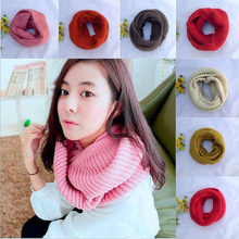 Fashion Women Winter Warm Infinity 2 Circle Cable Knit Cowl Candy Colors Neck Scarf Shawl Ring