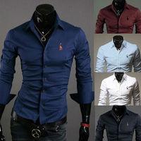 2014 New brand Men's Casual Slim Fit Stylish FASHION DUDALINDA FULL-Sleeve Shirt Cotton T-shirt Size:M-XXL