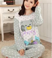 New long sleeved Pajama spring and autumn bear female cartoon cute Home Furnishing clothing women bear pajamas sleepwear nightie