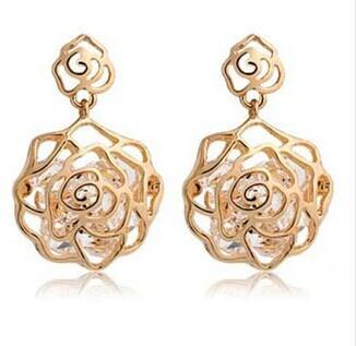 Fashion Crystal Hollow imitation zircon rose flower earring wholesale E114
