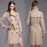 twods 2014 new fashion female british style long trench coat for women b originals design double--breasted overcoats belted