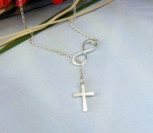 Fashion Casual Personality Infinity Cross Lariat Pendant Silver Plated Necklace Forever Faith Necklace Jewelry Wholesale N123