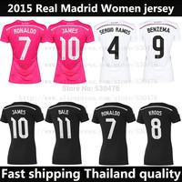Top Thai Quality new 2015 real madrid women shirt pink black soccer jersey 14 15 james ronaldo women uniforms camiseta