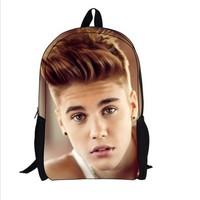 New justin bieber bag children backpack for mochila kids, children school bag for kids, new boys school bag for mochila infantil