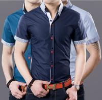 2014 Summer  Men's New  Short-sleeved shirt  Korean version of Slim-type business casual men's shirts