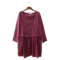 Wholesale 2014 new autumn Korean large code leisure elastic band wave point splicing sleeved pregnant women dress