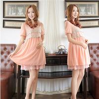 Maternity fashion summer new maternity skirt Korean chiffon dress short sleeved lace dress