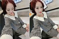 South Korea maternity new winter OL codes are slim lapels loose pregnant women lace dress
